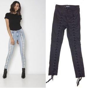 Free people | Neon Blonde tie black skinny jeans